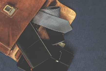 black leather wallet near the necktie